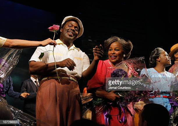 Singers BeBe Winans and Chaka Khan take a bow following their debut in the Broadway production of The Color Purple at the Broadway Theatre on January...