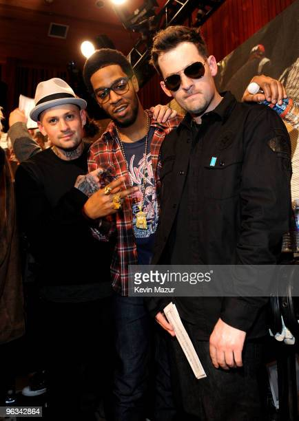 COVERAGE* Singers Benji Madden Kid Cudi and Joel Madden at the 'We Are The World 25 Years for Haiti' recording session held at Jim Henson Studios on...