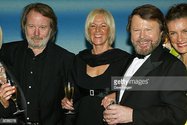 Singers Benny Andersson Frida Lyngstad and Bjorn Ulvaeus from ABBA attend a fifth anniversary performance of Mamma Mia the musical based on ABBA's...