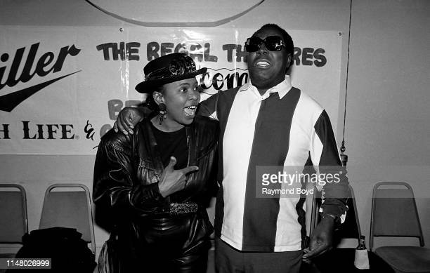 Singer Betty Wright poses for photos with singer Clarence Carter backstage at the Regal Theater in Chicago Illinois in January 1991