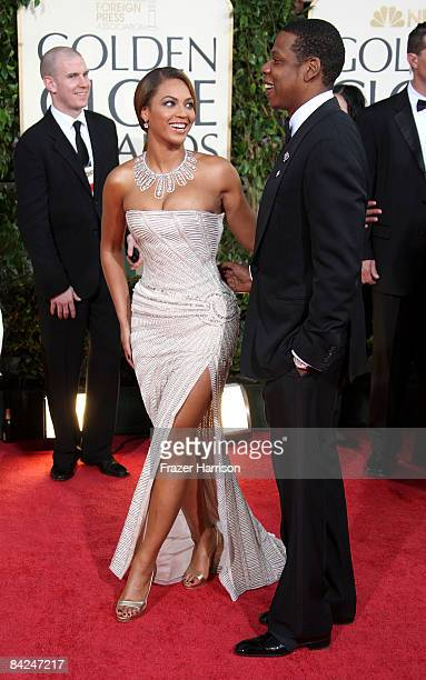 Singers Beyonce and JayZ arrive at the 66th Annual Golden Globe Awards held at the Beverly Hilton Hotel on January 11 2009 in Beverly Hills California
