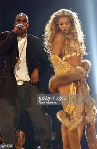 Singers Beyonce and JayZ perform onstage during the 2003 MTV Video Music Awards at Radio City Music Hall on August 28 2003 in New York City