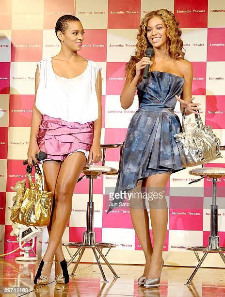 Singers Beyonce and Solange Knowles promote Samantha Thavasa Disney Collection at Tokyo Disneyland Hotel on August 10 2009 in Urayasu Chiba Japan