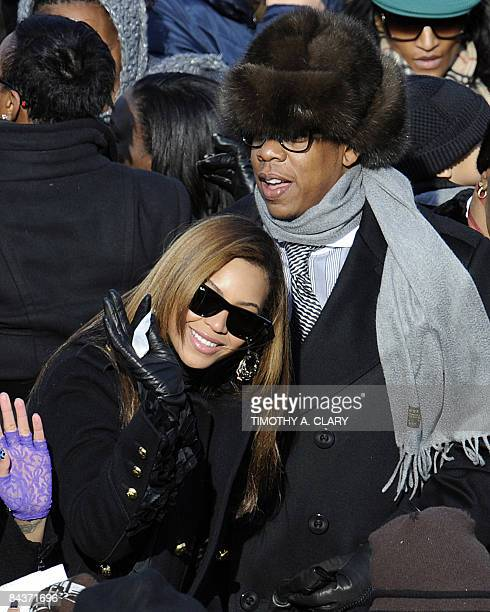 Singers Beyonce Knowles and JayZ attend the inauguration of US Presidentelect Barack Obama as the 44th President of the United States at the US...