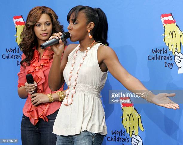 Singers Beyonce Knowles and Kelly Rowland of Destiny's Child perform at the 2005 World Children's Day at the McDonalds Los Angeles Ronald McDonald...