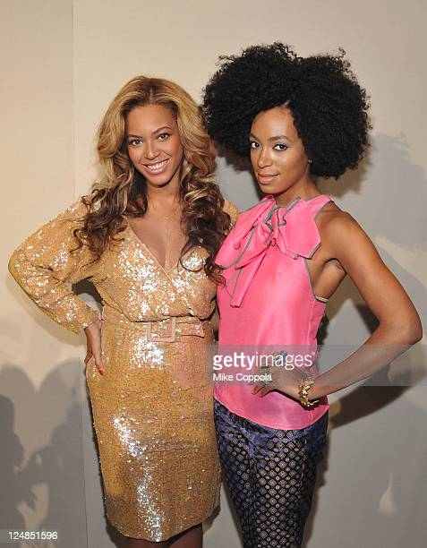 Singers Beyonce Knowles and Solange Knowles attend the JCrew Spring 2012 fashion show during MercedesBenz Fashion Week at The Stage at Lincoln Center...