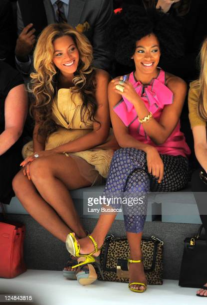 Singers Beyonce Knowles and Solange Knowles attend the Vera Wang Spring 2012 fashion show during MercedesBenz Fashion Week at The Stage at Lincoln...