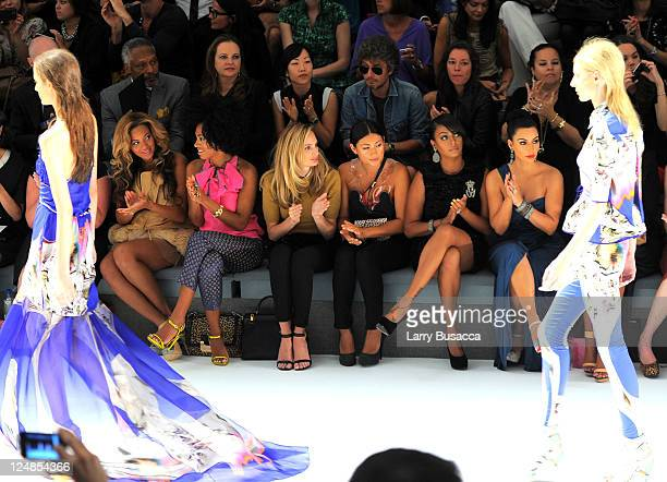 Singers Beyonce Knowles and Solange Knowles La La Anthony and TV personality Kim Kardashian attend the Vera Wang Spring 2012 fashion show during...