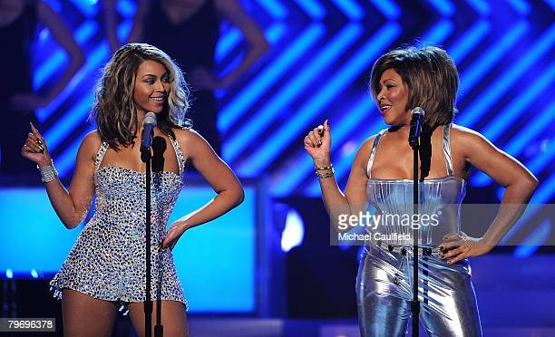 Singers Beyonce Knowles and Tina Turner on stage at the 50th Annual GRAMMY Awards at the Staples Center on February 10 2008 in Los Angeles California