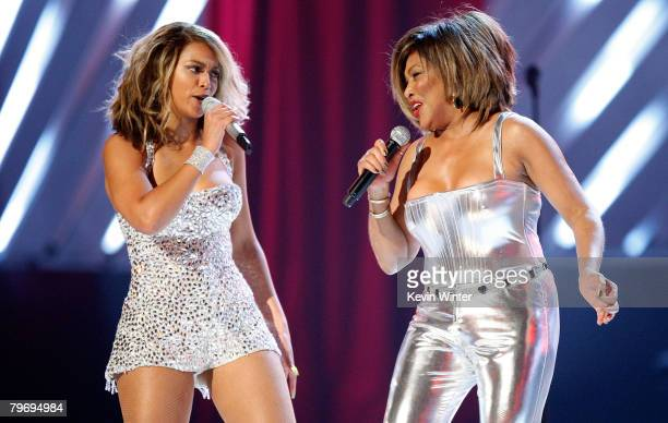 Singers Beyonce Knowles and Tina Turner perform onstage during the 50th annual Grammy awards held at the Staples Center on February 10 2008 in Los...
