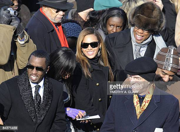 Singers Beyonce Knowles JayZ and Bobbie Brown attend the inauguration of US Presidentelect Barack Obama as the 44th President of the United States at...