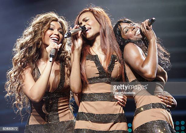 """Singers Beyonce Knowles, Michelle Williams and Kelly Rowland of Destiny's Child kick off the European leg of their """"Destiny Fulfilled...and Lovin It""""..."""