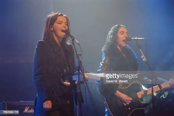 Singers Bjork and P J Harvey performing ' Satisfaction' at the 1994 Brit Awards held at Alexandra Palace London 14th February 1994 Bjork won the...