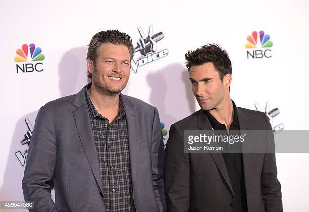 Singers Blake Shelton and Adam Levine attend NBC's The Voice Season 7 Red Carpet Event at Universal CityWalk on November 24 2014 in Universal City...
