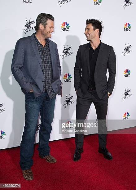 """Singers Blake Shelton and Adam Levine attend NBC's """"The Voice"""" season 7 red carpet event at Universal CityWalk on November 24, 2014 in Universal..."""