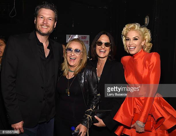 Singers Blake Shelton and Melissa Etheridge actress Linda Wallem and singer Gwen Stefani attend the 2016 PreGRAMMY Gala and Salute to Industry Icons...