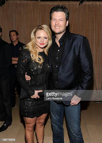 Singers Blake Shelton and Miranda Lambert arrive at Clive Davis and the Recording Academy's 2012 PreGRAMMY Gala and Salute to Industry Icons Honoring...