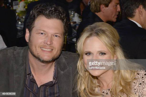 Singers Blake Shelton and Miranda Lambert attend 2014 MusiCares Person Of The Year Honoring Carole King at Los Angeles Convention Center on January...