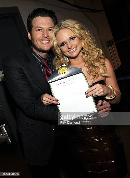 Singers Blake Shelton and Miranda Lambert attend The 53rd Annual GRAMMY Awards held at Staples Center on February 13 2011 in Los Angeles California