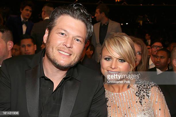 Singers Blake Shelton and Miranda Lambert attend the 55th Annual GRAMMY Awards at STAPLES Center on February 10 2013 in Los Angeles California