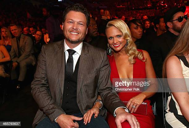 Singers Blake Shelton and Miranda Lambert attend the 56th GRAMMY Awards at Staples Center on January 26 2014 in Los Angeles California