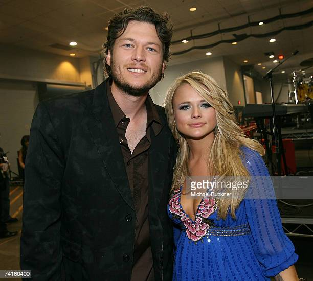 Singers Blake Shelton and Miranda Lambert pose backstage at the 42nd Annual Academy Of Country Music Awards held at the MGM Grand Garden Arena on May...
