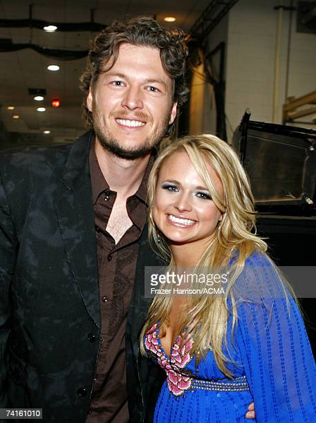 PRICING*** Singers Blake Shelton and Miranda Lambert pose for photos backstage at the 42nd Annual Academy Of Country Music Awards held at the MGM...