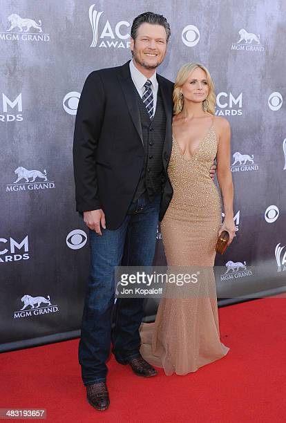 Singers Blake Shelton and wife Miranda Lambert arrive at the 49th Annual Academy Of Country Music Awards at the MGM Grand Hotel and Casino on April 6...
