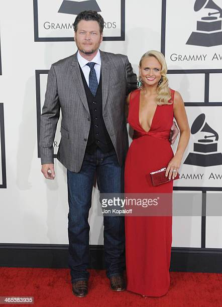 Singers Blake Shelton and wife Miranda Lambert arrive at the 56th GRAMMY Awards at Staples Center on January 26 2014 in Los Angeles California