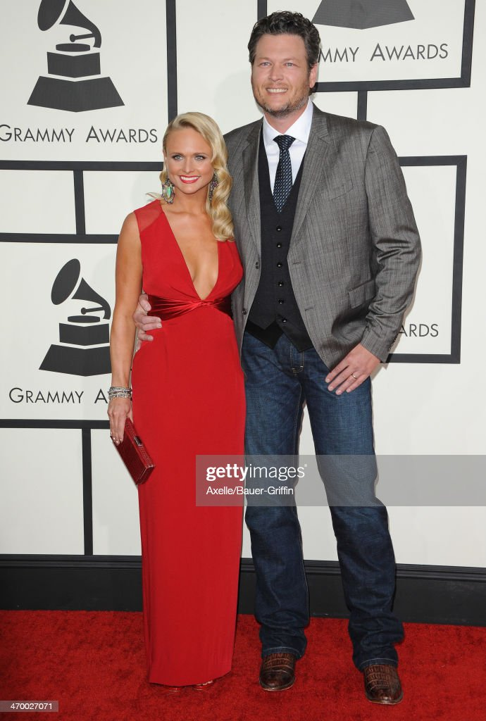 Singers Blake Shelton and wife Miranda Lambert arrive at the 56th GRAMMY Awards at Staples Center on January 26, 2014 in Los Angeles, California.