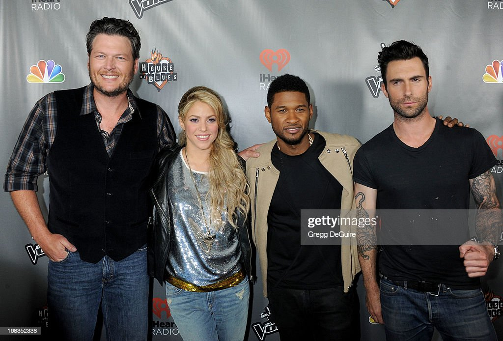 Singer's Blake Shelton, Shakira, Usher and Adam Levine arrive at NBC's 'The Voice' Season 4 premiere at House of Blues Sunset Strip on May 8, 2013 in West Hollywood, California.
