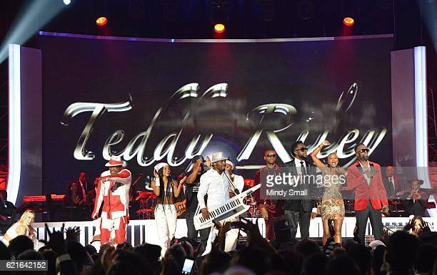 Singers Bobby Brown Markell Riley Teddy Riley Agil Davidson Damion Hall V Bozeman and Aaron Hall perform onstage during the 2016 Soul Train Music...