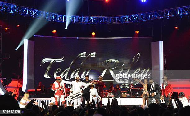 Singers Bobby Brown Teddy Riley Markell Riley Agil Davidson V Bozeman Damion Hall and Aaron Hall perform onstage during the 2016 Soul Train Music...