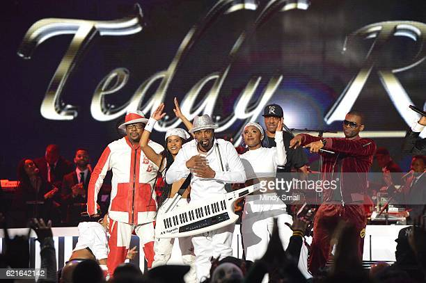 Singers Bobby Brown Teddy Riley Markell Riley and Agil Davidson perform onstage during the 2016 Soul Train Music Awards at the Orleans Arena on...