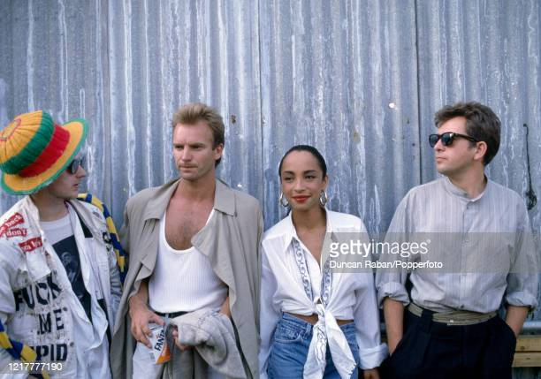 Singers Boy George, Sting, Sade and Peter Gabriel during the Artists Against Apartheid Concert at Clapham Common in London, England on 28 June, 1986.