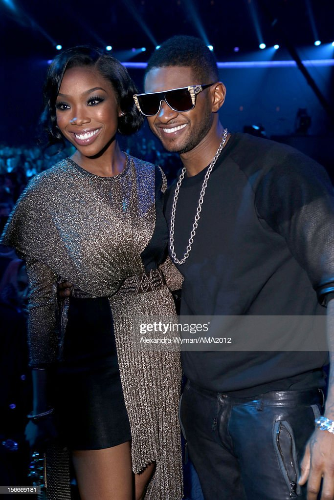 Singers Brandy and Usher at the 40th American Music Awards held at Nokia Theatre L.A. Live on November 18, 2012 in Los Angeles, California.