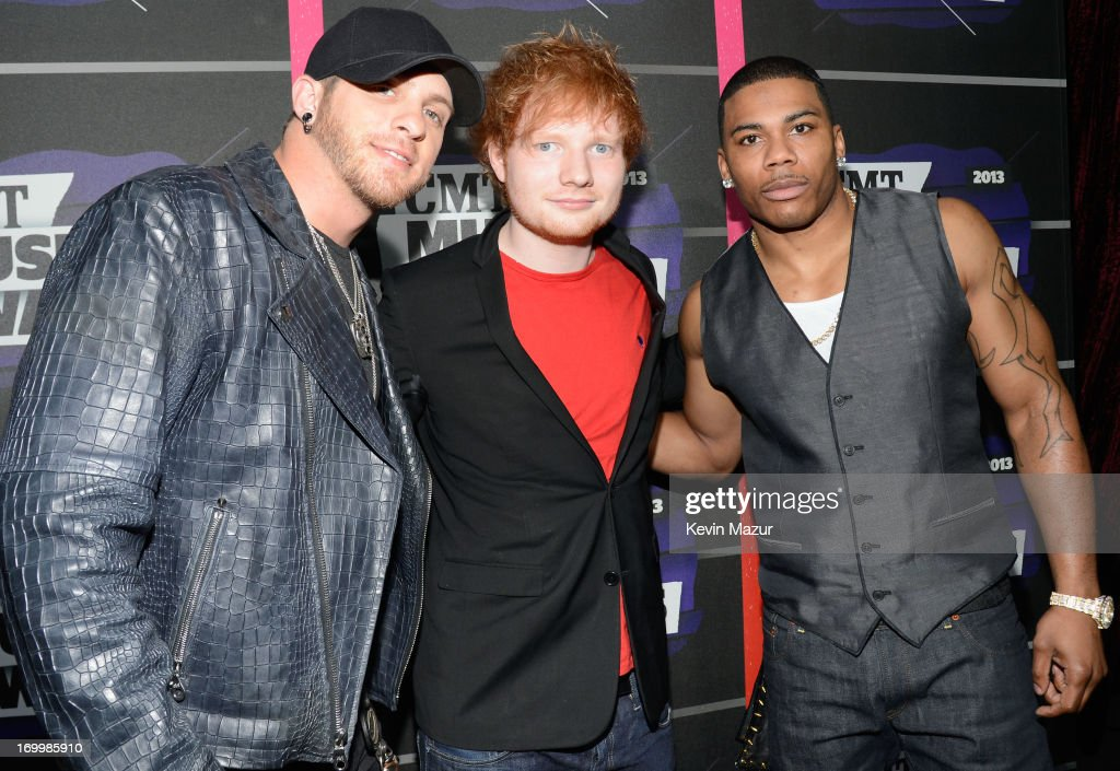 Singers Brantley Gilbert, Ed Sheeran and Nelly attend the 2013 CMT Music awards at the Bridgestone Arena on June 5, 2013 in Nashville, Tennessee.