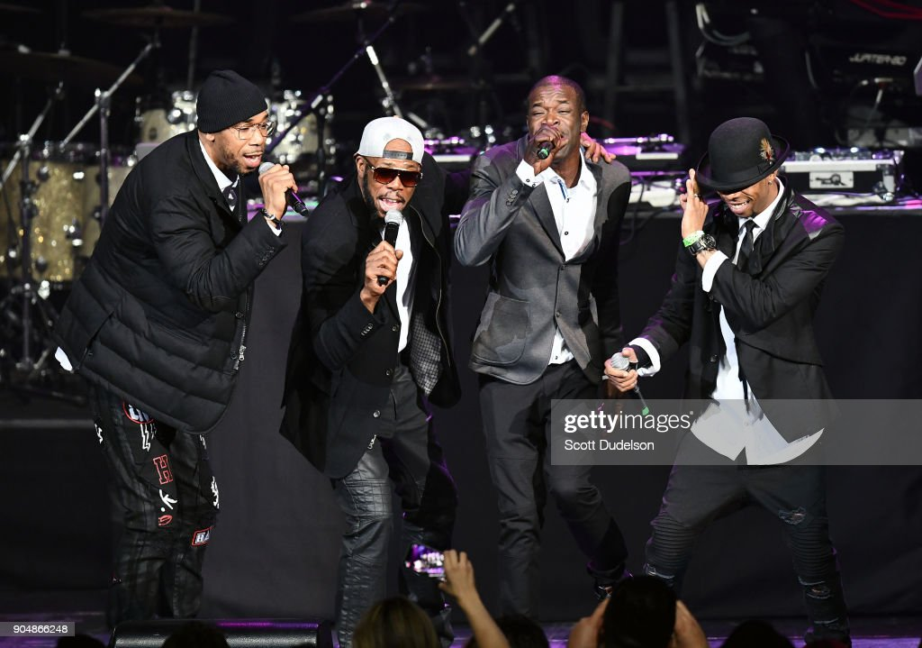 Singers Brian Dalyrimple, Andre Dalyrimple, Christopher Dalyrimple and Jason Dalyrimple of the R&B group Soul for Real perform onstage at Microsoft Theater on January 13, 2018 in Los Angeles, California.