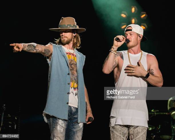 Singers Brian Kelley and Tyler Hubbard of Florida Georgia Line perform at Nissan Stadium during day 3 of the 2017 CMA Music Festival on June 10 2017...