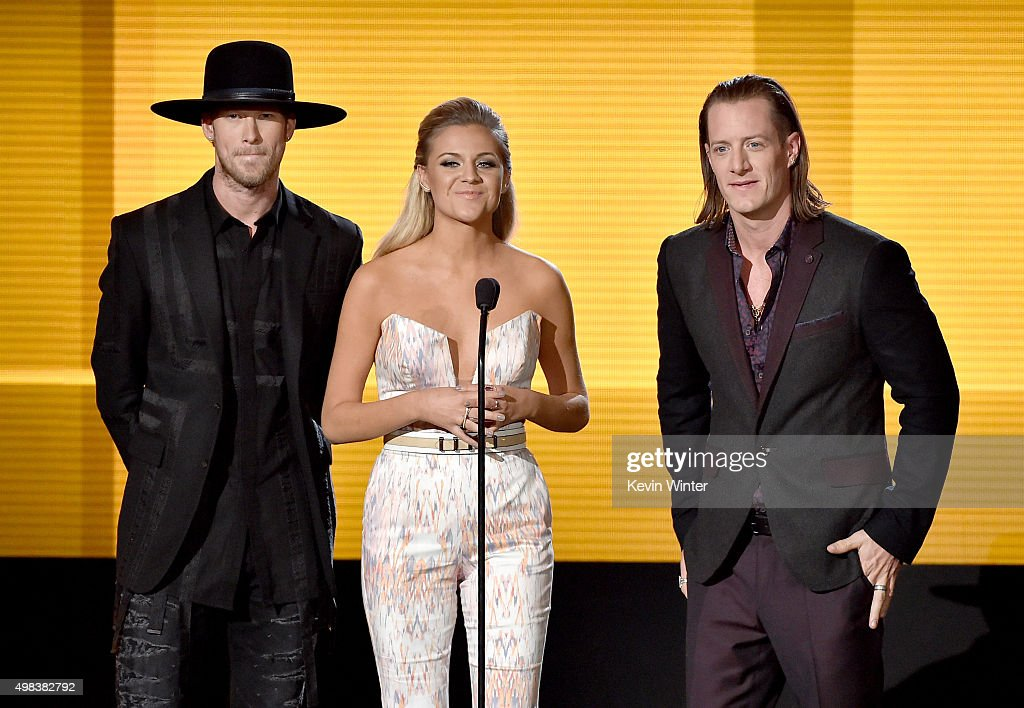 Singers Brian Kelley, Kelsea Ballerini and Tyler Hubbard speak onstage during the 2015 American Music Awards at Microsoft Theater on November 22, 2015 in Los Angeles, California.