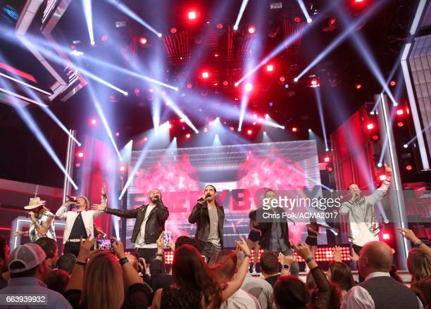 Singers Brian Kelley Kevin Littrell AJ McLean Kevin Richardson Howie D and Tyler Hubbard members of Florida Georgia Line and the Backstreet Boys...