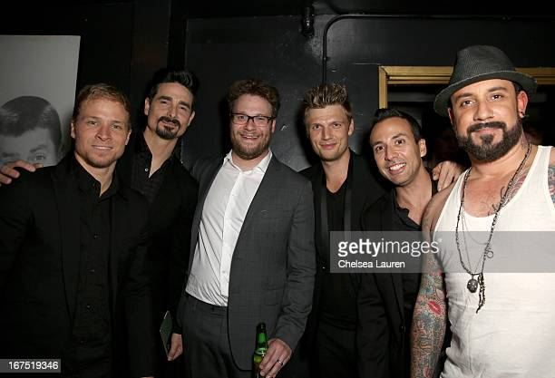 Singers Brian Littrel Kevin Richardson Host Seth Rogen singers Nick Carter Howie Dorough and AJ McLean of the Backstreet Boys attend the Second...