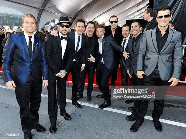 Singers Brian Littrell and AJ McLean of Backstreet Boys Joey McIntyre and Jonathan Knight of New Kids on the Block Nick Carter of Backstreet Boys...