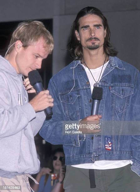 Singers Brian Littrell and Kevin Richardson of the Backstreet Boys perform at 'The Today Show' Summer Concert Series on July 2 2001 at Rockefeller...