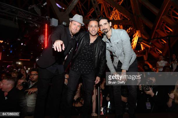 Singers Brian Littrell Howie Dorough and Kevin Richardson of the Backstreet Boys attend the after party of the debut of the group's residency 'Larger...