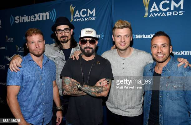 Singers Brian Littrell Kevin Richardson AJ McLean Nick Carter and Howie D of Backstreet Boys pose at SiriusXM's The Highway Channel broadcasts...