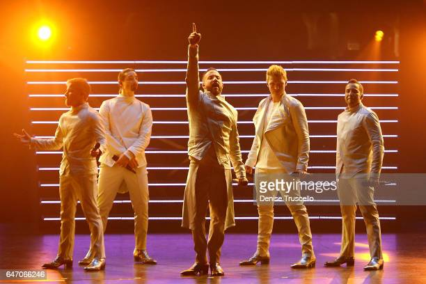 Singers Brian Littrell Kevin Richardson AJ McLean Nick Carter and Howie Dorough of the Backstreet Boys perform during the launch of the group's...