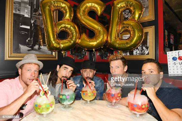 Singers Brian Littrell Kevin Richardson AJ McLean Nick Carter and Howie Dorough of the Backstreet Boys attend the grand opening of Sugar Factory...