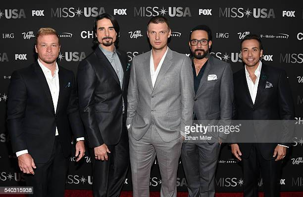 Singers Brian Littrell Kevin Richardson Nick Carter AJ McLean and Howie Dorough of the Backstreet Boys attend the 2016 Miss USA pageant at TMobile...