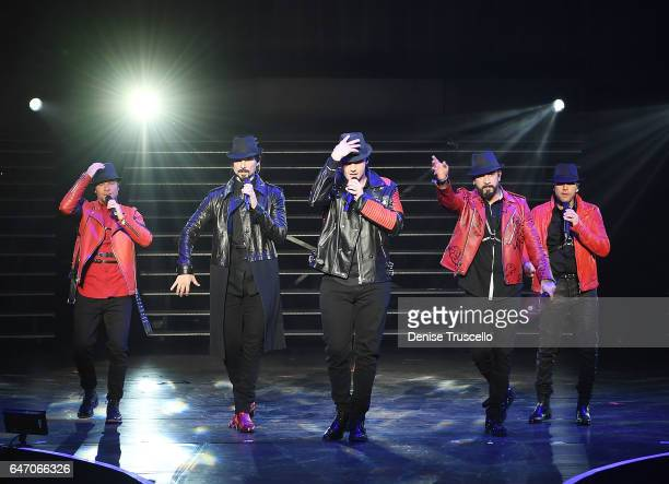 Singers Brian Littrell Kevin Richardson Nick Carter AJ McLean and Howie Dorough of the Backstreet Boys perform during the launch of the group's...